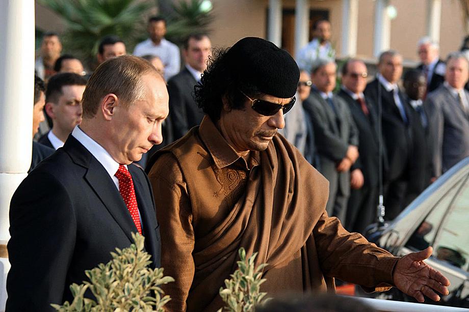 Встреча Владимира Путина и Муамара Каддафи