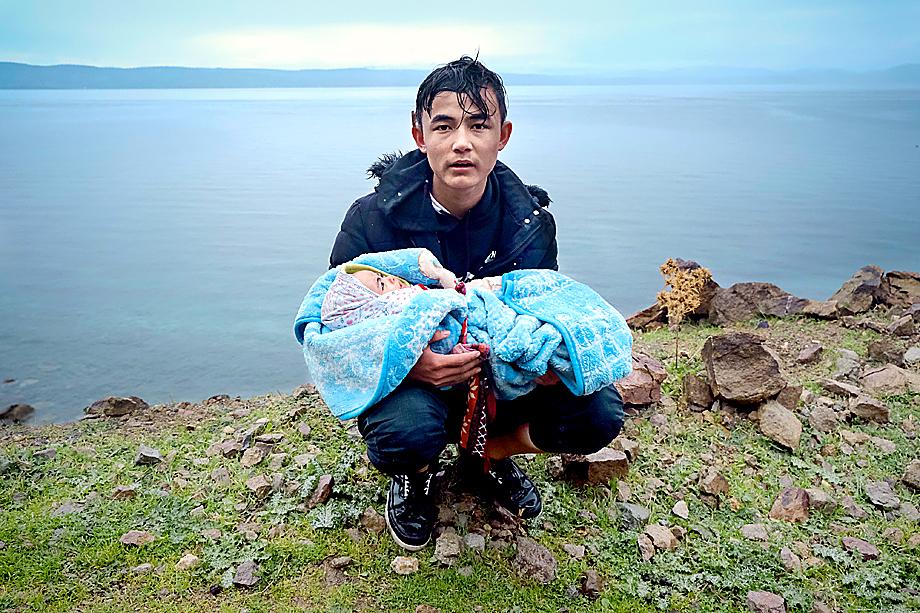 Беженцы на острове Лесбос