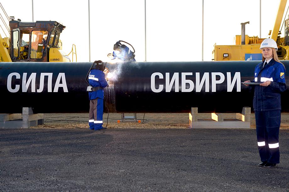 Сварка первого звена магистрального газопровода «Сила Сибири». 2014 год