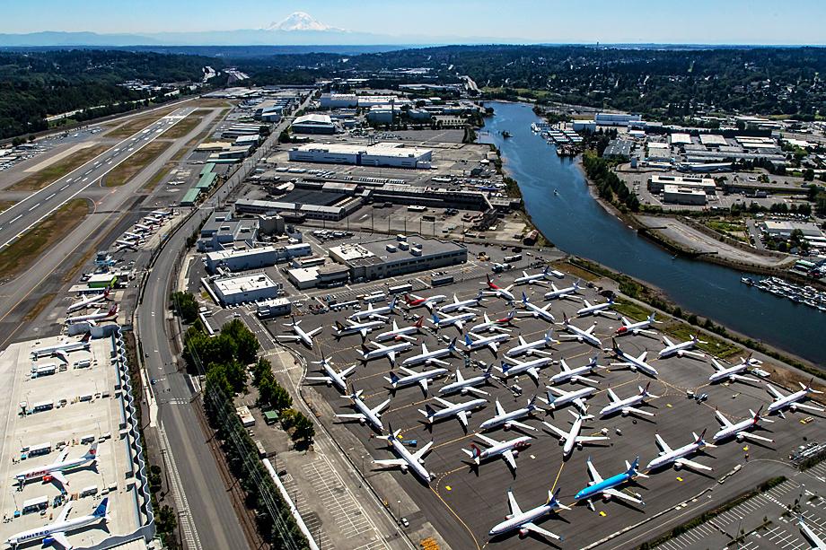 Непроданные Boeing 737 МАХ на стоянке в Сиэтле
