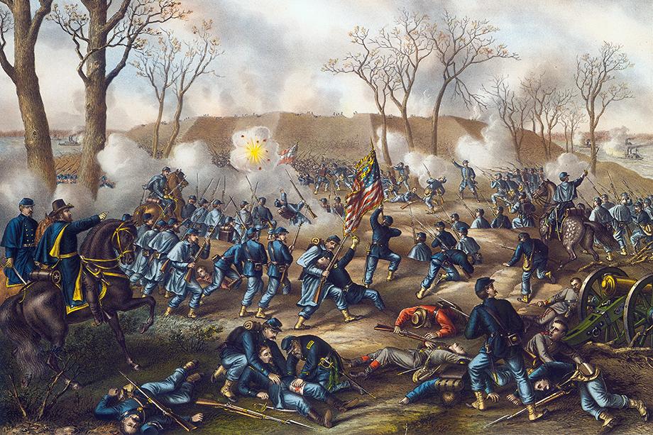 События показывают, что гражданская война в США не окончена. Раскол в обществе сохраняется ровно по тем же линиям, что 200 лет тому назад. Рисунок «Битва при форте Донельсон».