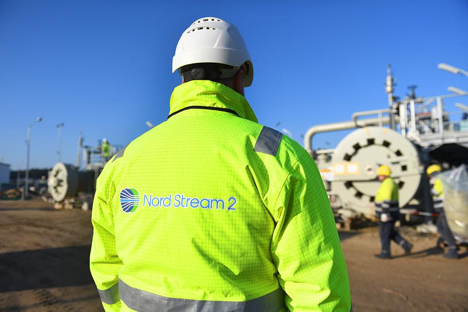 Строительная площадка газопровода Nord Stream 2 на Балтийском море.