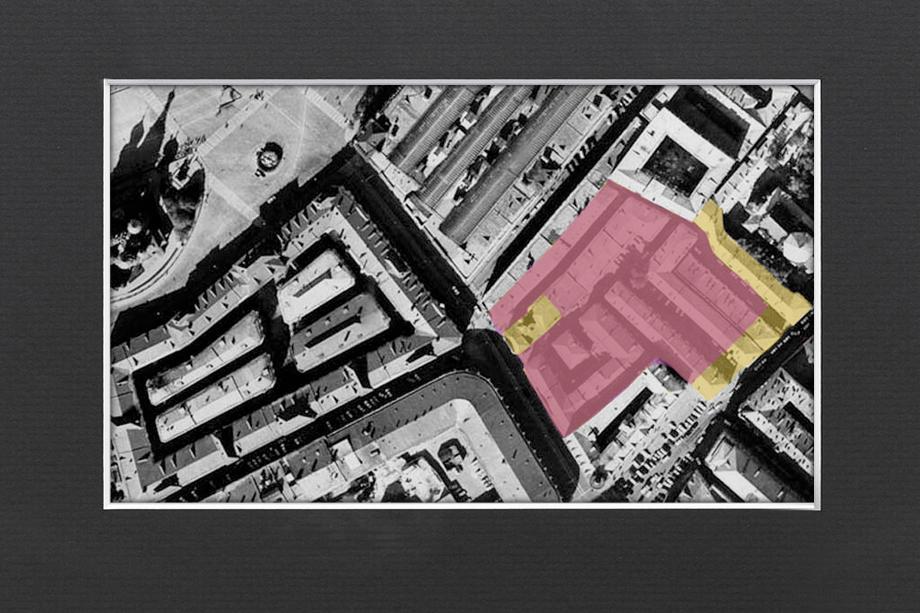 Тёплые ряды и Богоявленские линии в Китай-городе 1970-х. Розовым показаны корпуса, снесённые при Лужкове, жёлтым – сохранившиеся до сих пор.