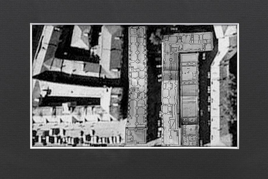 План подвалов XVII-XIX веков, сохраняющихся на территории стройплощадки «Интеко». По обмерам 1980-х.