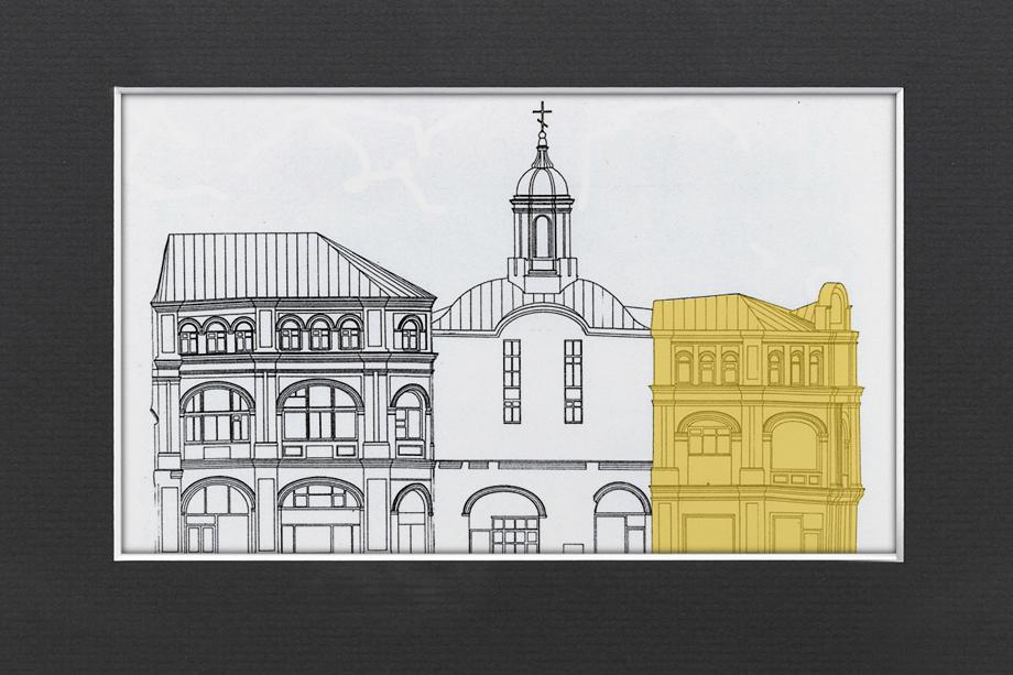 Обмерный чертёж западного фасада храма с пристройками. «Невоцерковлённый» южный объём – справа.