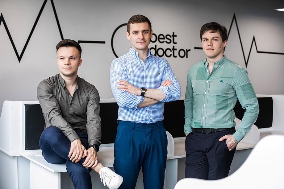 Михаил Беляндинов, Марк Саневич и Филипп Кузнецов – сооснователи медицинской компании BestDoctor.