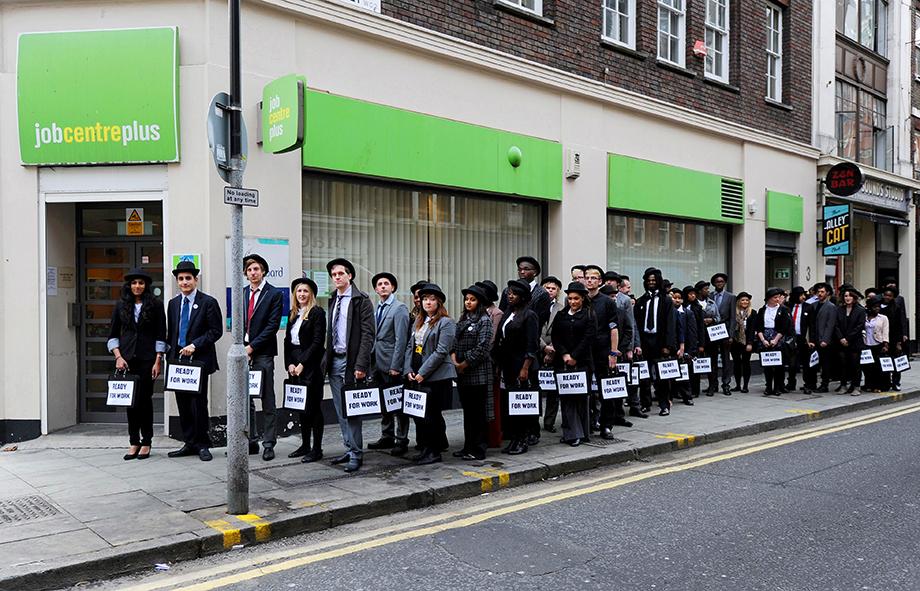 Демонстрация в поддержку безработной молодёжи в Великобритании.