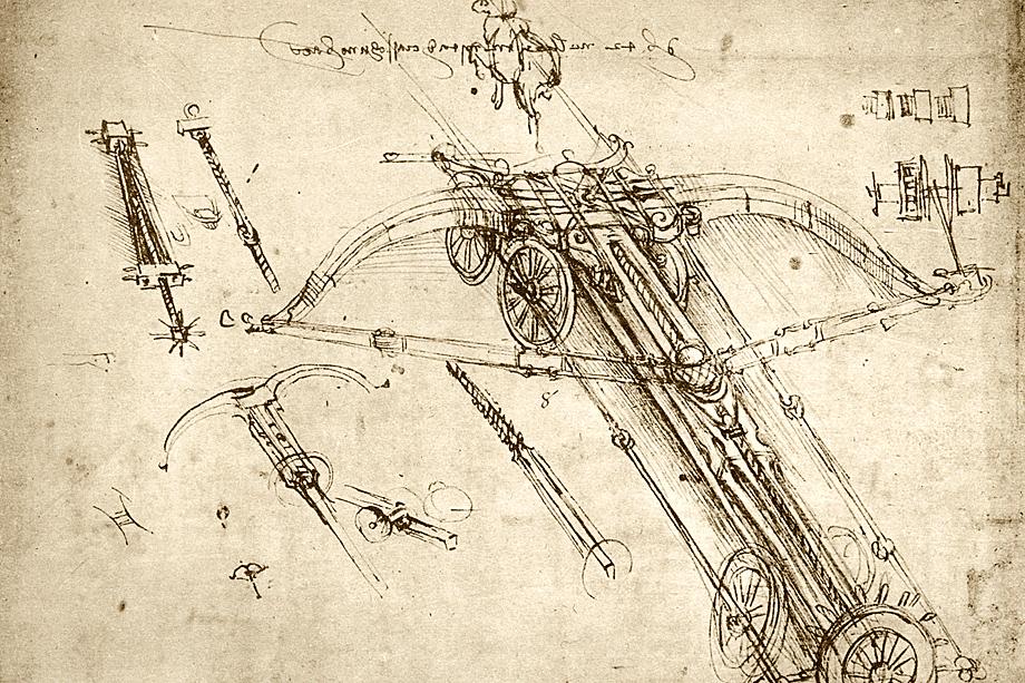 Арбалет Леонардо намного превышает по размерам ручное оружие, которое ещё применялось в конце XV века. Из сохранившихся записей да Винчи следует, что раствор плеча арбалета составляет 42 длины рукояти, так что в раскрытом виде длина арбалета – 24 метра.