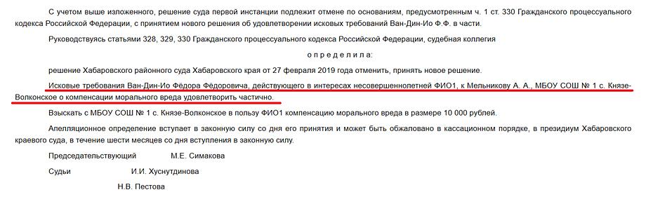 Выдержка из решения Хабаровского краевого суда.