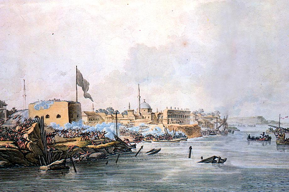 Главное морское сражение Русско-турецкой войны 1787–1791 годов. Иллюстрация: «Штурм Измаила».