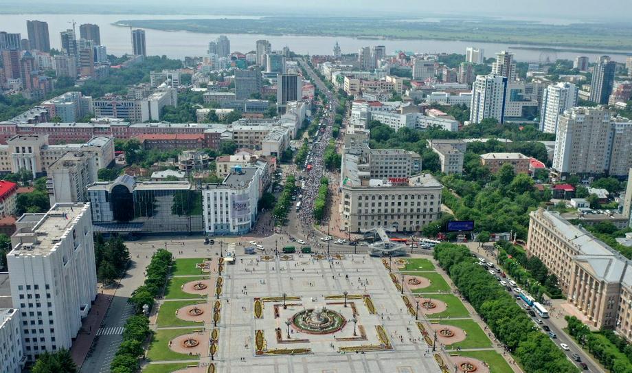 Так выглядел центр Хабаровска через 22 минуты после начала митинга.