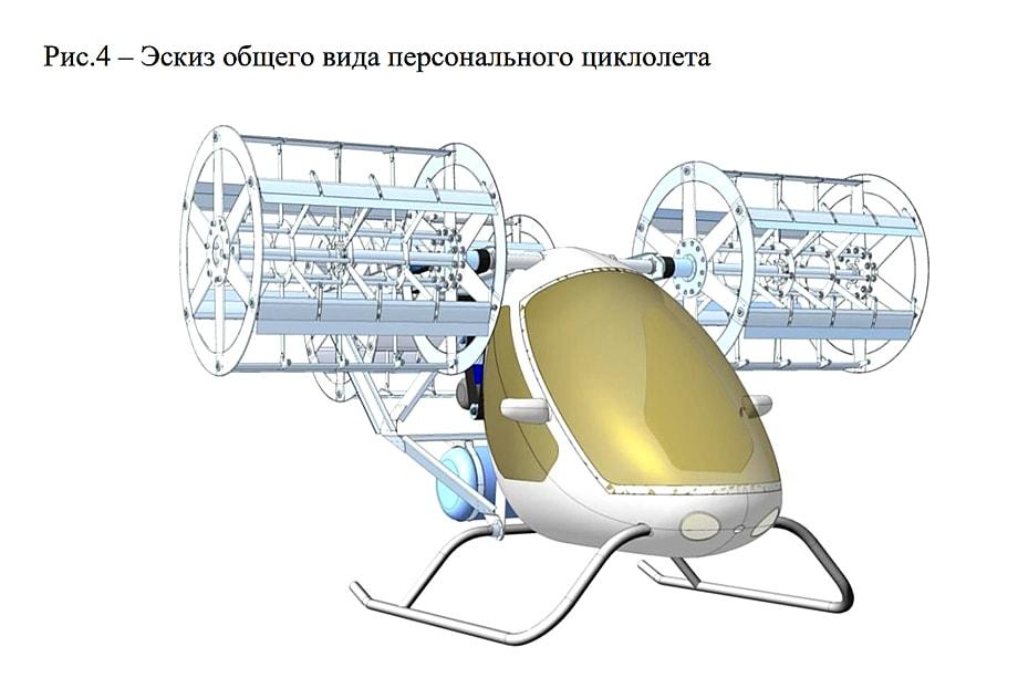 Эскиз общего вида персонального циклолёта красноярского конструкторского бюро «Арей».