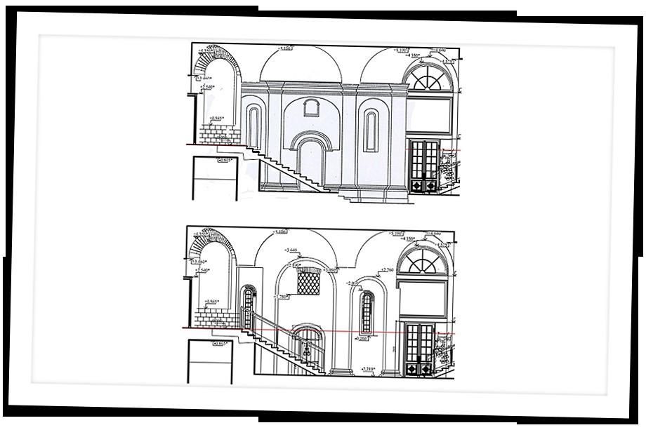 Западный фасад в границах постройки. 1519 год.