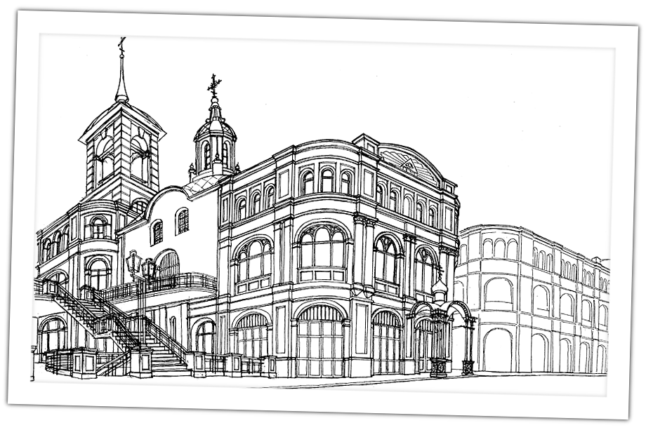 Эскиз церкви Ильи Пророка в Тёплых рядах.