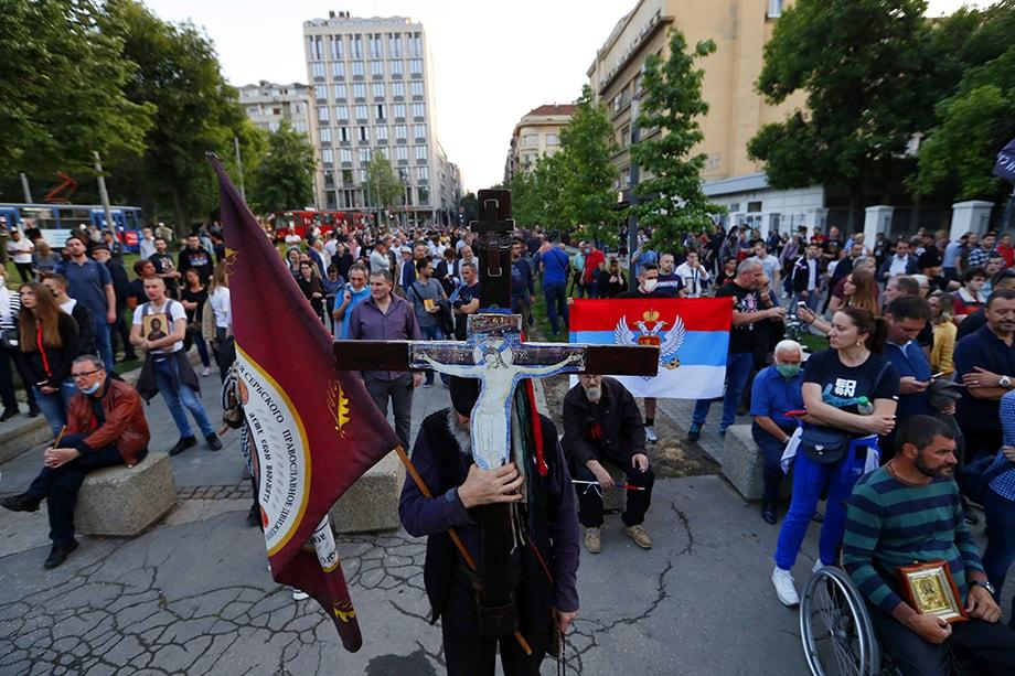 Акция против ареста священников Сербской православной церкви в Белграде.