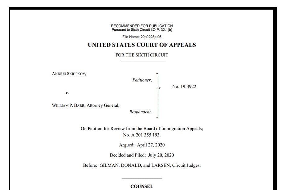 Решение Шестого окружного апелляционного суда США по делу «Скрипков против Барра».