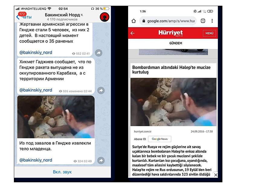 Слева – «свежий» фейк: якобы достают ребёнка из-под завалов после обстрела Гянджи. Справа – публикация в турецкой газете «Хюрриет» от 2016 года о последствиях военных действий в Алеппо. Обычно такие кадры лавинно распространяются, а через некоторое время – удаляются. Но процесс запущен.