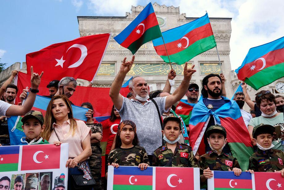 Акция в Стамбуле против политики Армении в отношении Нагорного Карабаха. 19 июля 2020 года.