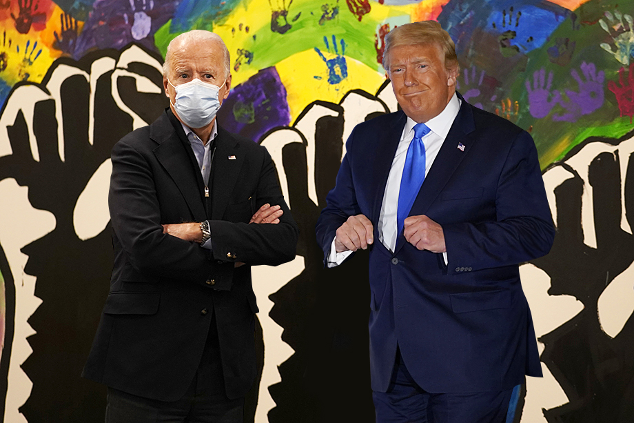 Трамп встречался с избирателями без маски и переболел коронавирусом, Байден появлялся на публике гораздо реже и почти всегда в маске.