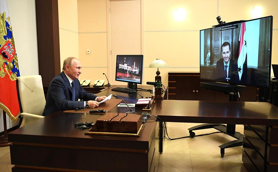 Встреча Владимира Путина президентом Сирии Башаром Асадом проходила в режиме видеоконференции.