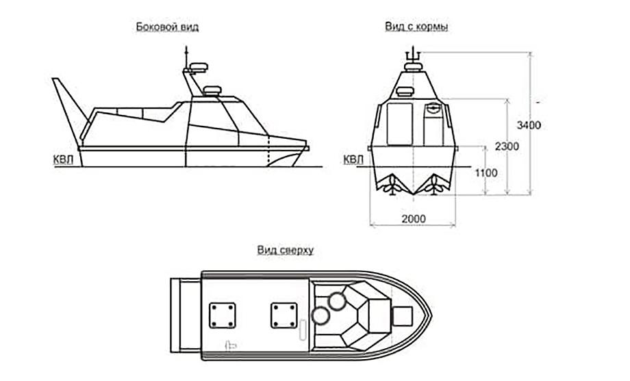 Длина морской платформы с водородной энергетической установкой должна составить 5,5 метра, ширина – около двух метров, высота борта – 1,1 метра.