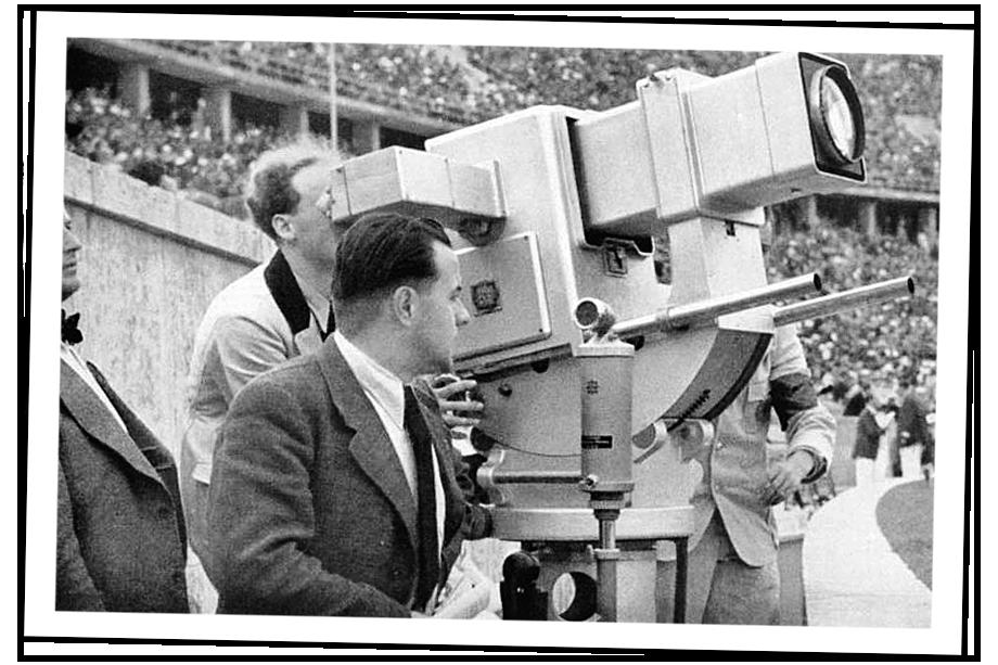 На берлинской Олимпиаде 1936 года использовалась телевизионная камера «Olympia-Kanone» с электронной развёрткой на 180 строк.