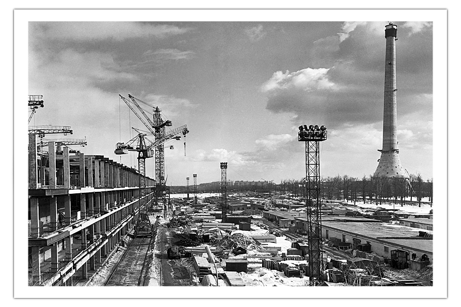 Строительство Останкинской телебашни. 3 марта 1966 год.