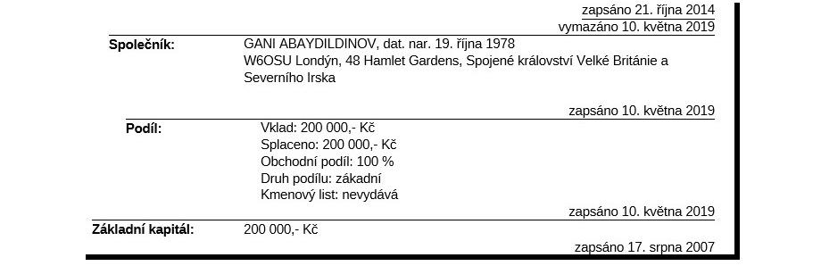 С 2019 года владельцем Starodávné tradice s.r.o. является казахстанско-британский бизнесмен Гани Абайдильдинов.