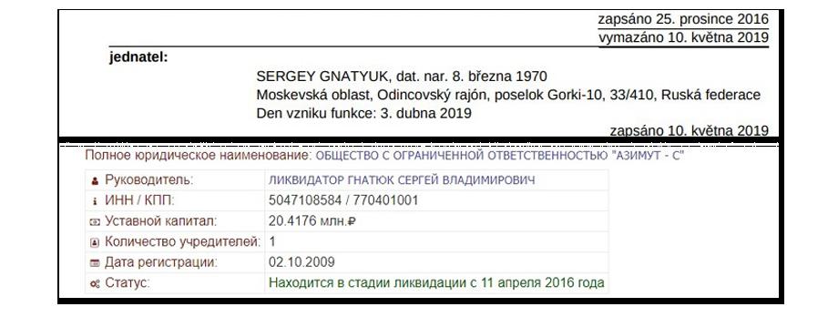 Директором Starodávné tradice s.r.o. остался бизнес-партнёр жены губернатора. Он же является ликвидатором российской фирмы Галины Уйбы.