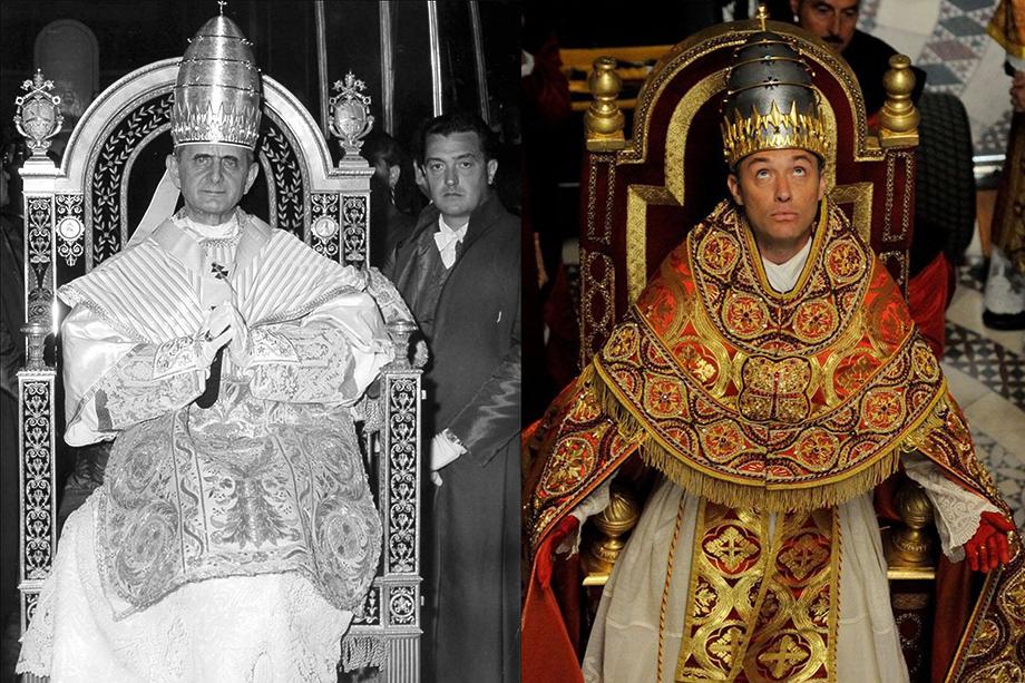 Папа Павел VI (слева) во время его коронации 18 июня 1963 года и папа Пий XIII (справа) – главный герой сериала 2016 года «Молодой папа» в исполнении Джуда Лоу.