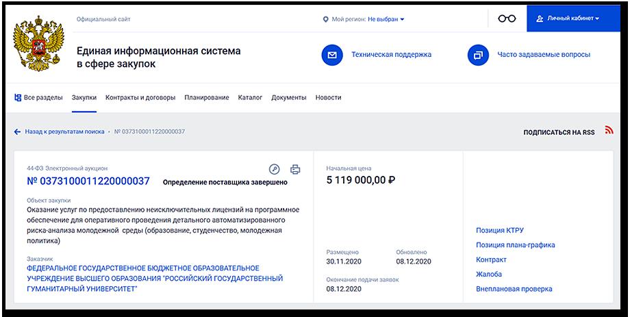 Шестимесячная лицензия на софт для мониторинга обошлась РГГУ в 5,1 млн рублей.