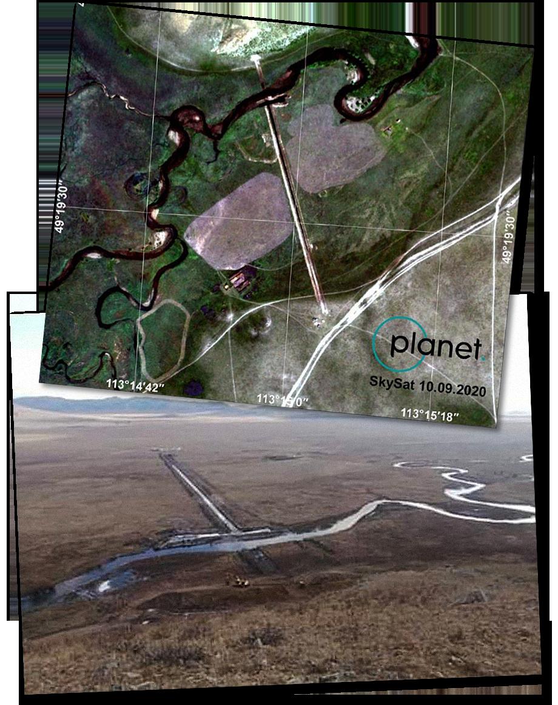 На снимке из космоса и фотографии хорошо видно, что строительство дамбы уже идёт полным ходом.