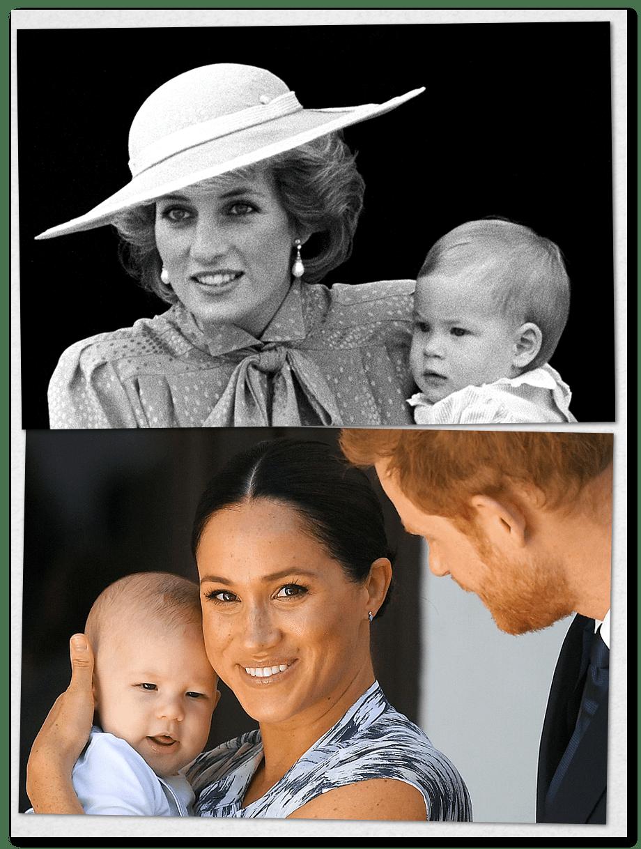 Принцесса Диана с сыном Гарри (вверху) и Меган Маркл с сыном Арчи (внизу).