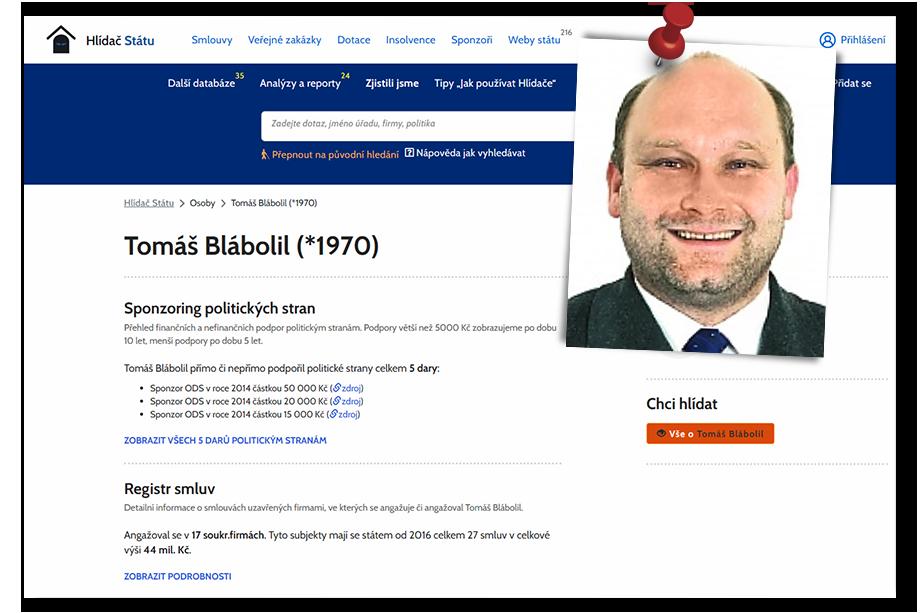 Часть средств Томаш Блаболил вложил в победу Гражданской демократической партии.