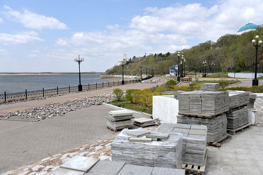 Реконструкция набережной в мае 2018 года.