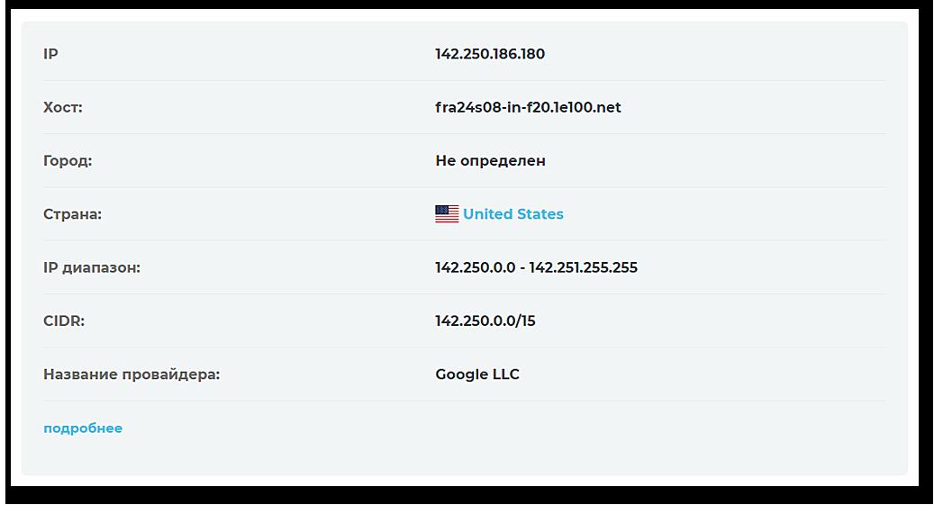 Скриншот результата проверки IP-адреса сервера «Страны приливов».