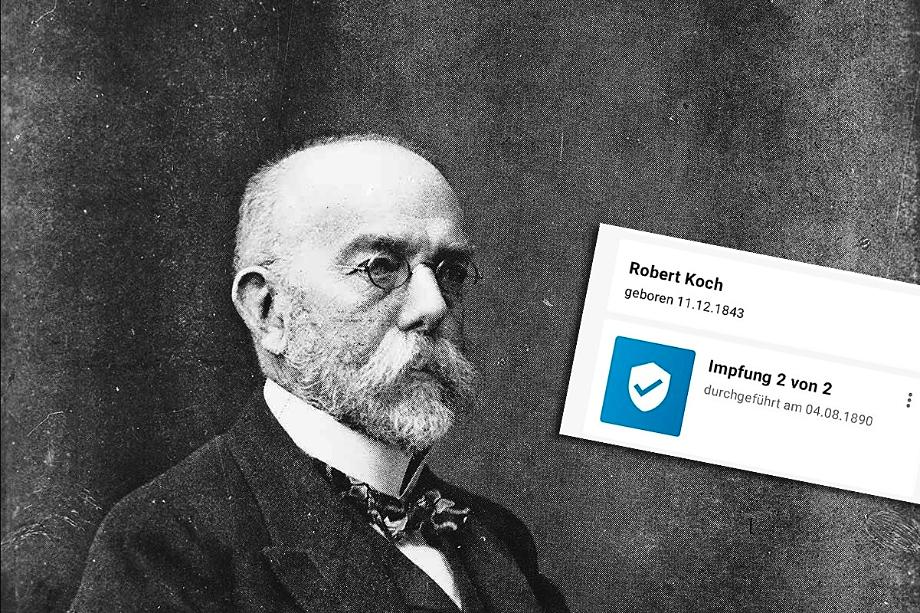 Вакцинация фальшивого Роберта Коха должна была состояться в 1890 году, то есть при его жизни. Но приложение приняло этот сертификат о вакцинации без проблем.