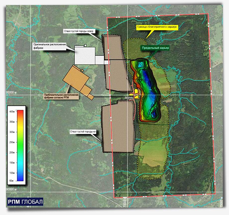 Предполагаемый план расположения производственных площадок нового ГОКа по добыче и переработке титаномагнетитовых железных руд.