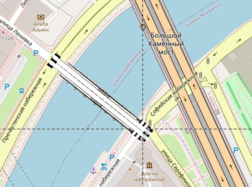Наложение плана Большого Каменного моста XVII века на современную карту.
